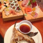 Sashimi Combo, Spicy Tuna Roll, other nigiri and the Hamache kame