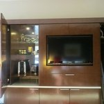 Hutch with beverage supplies and flat screen TV