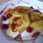 Ricotta pancakes with a hint of lemon and raspberry coulis