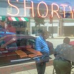 looking in the front window at shortys
