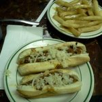 2 dogs all the way and fries with gravy