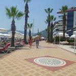 Walk along beachfront to hotel