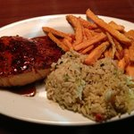 Bourbon Glazed Salmon, Rice Pilaf And Sweet Potato Fries.
