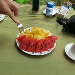 Fresh fruit for breakfast every morning.