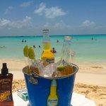Playa del Norte Beach and Corona ice buckets.