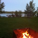 Private campfire in front of our cabin, right beside the lake