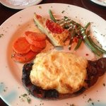 steak with a crab topping