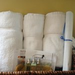 Our towel basket  inside the suite