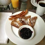 Mmmm. French toast with blueberry compote and bacon.