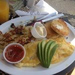 crab meat omelette and hash browns