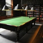 The library/pool room.