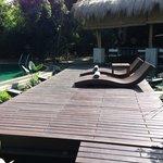 Sun loungers on a flaoting deck
