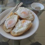 Poached eggs with bread for breakie