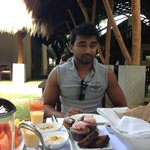 Love the look on Chamal's face! Breakfast - First Tray