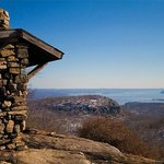 West Mountain shelter, with views toward the Hudson River and Manhattan skyline.