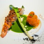 Maine Lobster, Roasted Garlic, Fava Leaf, Carrot Tagliatelle and Brown Butter