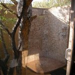 Our outdoor shower at Bush Lodge
