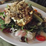 Christine's Quackery Duck Salad     Warm slow cooked duck leg confit served on Mesclun greens wi