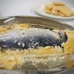 Sea bass in salty crust