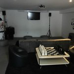 lounge with projector to watch DVDs with, lots movies to choose from! all free!