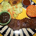 Mexican Steak with various accompaniments