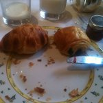 Breakfast of Pan Chocolate and Croissant