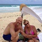 Made our own shade near Bonita Beach, Cozumel