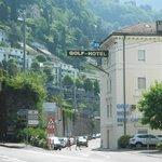 Hotel main entrance & railway line