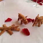 Animals made of champagne corks, compliments of Benny (best waiter/bartender)