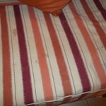 several stains on bed linen