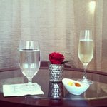 Champagne, water, and petit fours in the waiting lounge.