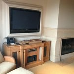 TV/ Fireplace area in Living Room in Bungalow Suite