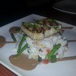 Swordfish with rice and veggies