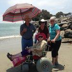 enjoying the beach w/ the beach wheelchair