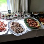Langoustines, smoked mackerel, and smoked salmon starters for the wedding feast