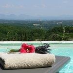 piscine avec vue sur le château de Grignan