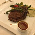 The Steak with mashed potatoes