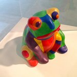 This frog is part of a very colorful collection.