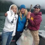 The first halibut. 47 inches with my daughter and Captain Eric