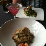 Sea Bass and Lobster & Filet with Poblano Goat Cheese and Prickly Pear Margarita