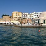 View of Chania harbour from yacht trip