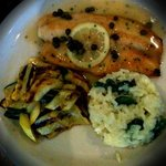 sautéed sea food with spinach mushroom risotto and a side of grilled veggies