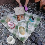 Snack consisted of sticky buns, dulse, trail mix, granola bars, fruit, juice and candies