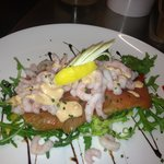 Fresh smoked salmon and prawn salad served with buttered new potatoes