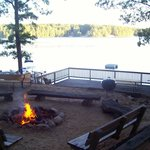 Large fire pit overlooking Spider Lake