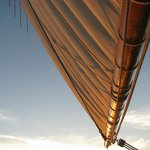 Sails are full in a gentle breeze