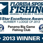 """Award for """"No 1 Lodge for 2013"""" from Florida Sport Fishing Magazine"""