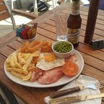 nice juice gammon steak with a cold beer.