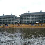 A view of the beach and hotel from the bay.
