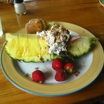 Cherry Chicken Salad in a Pineapple Boat!